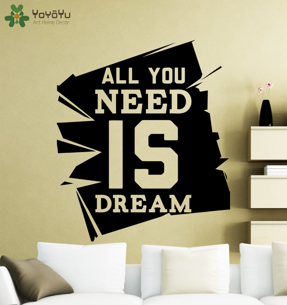 YOYOYU Wall Decal Modern Quotes All You Need Is Dream Vinyl Wall ...