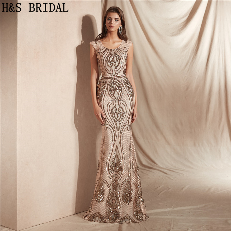 H&S Bridal Vintage   Evening     Dresses   Long Mermaid sequins Women Formal   Dress   Party Gown Robe De Soiree 2018