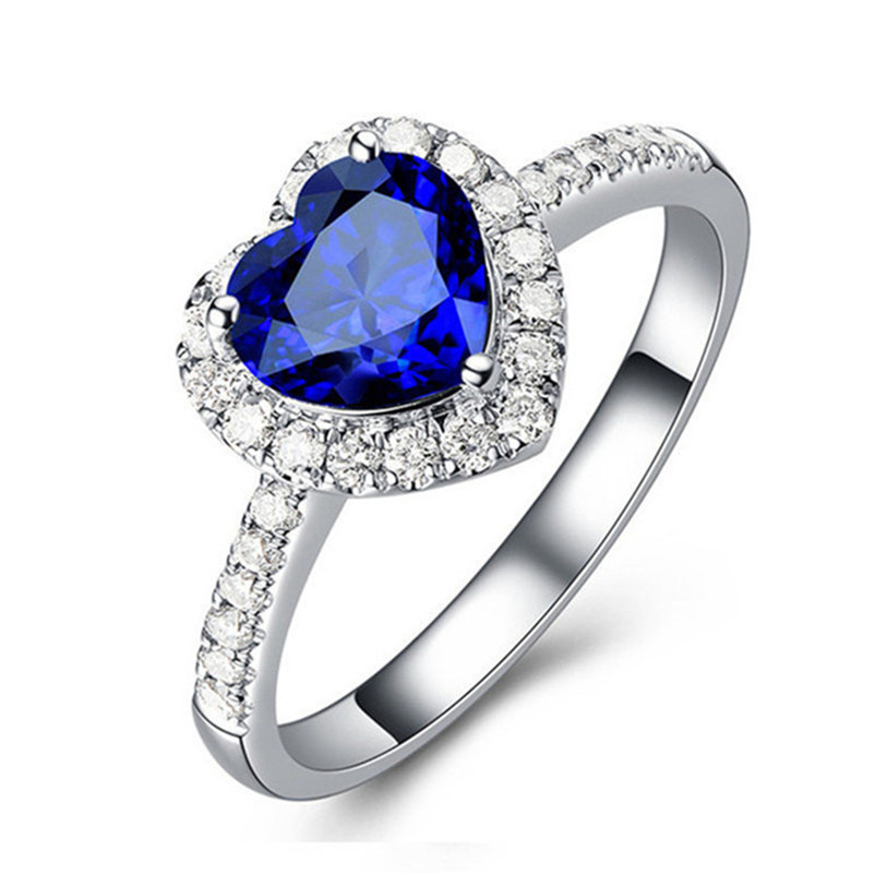 Fine Jewelry Sapphire Rings For Women Real S925 Sterling Silver Heart-Shaped Bridal Wedding Engagement Top Quality Ring