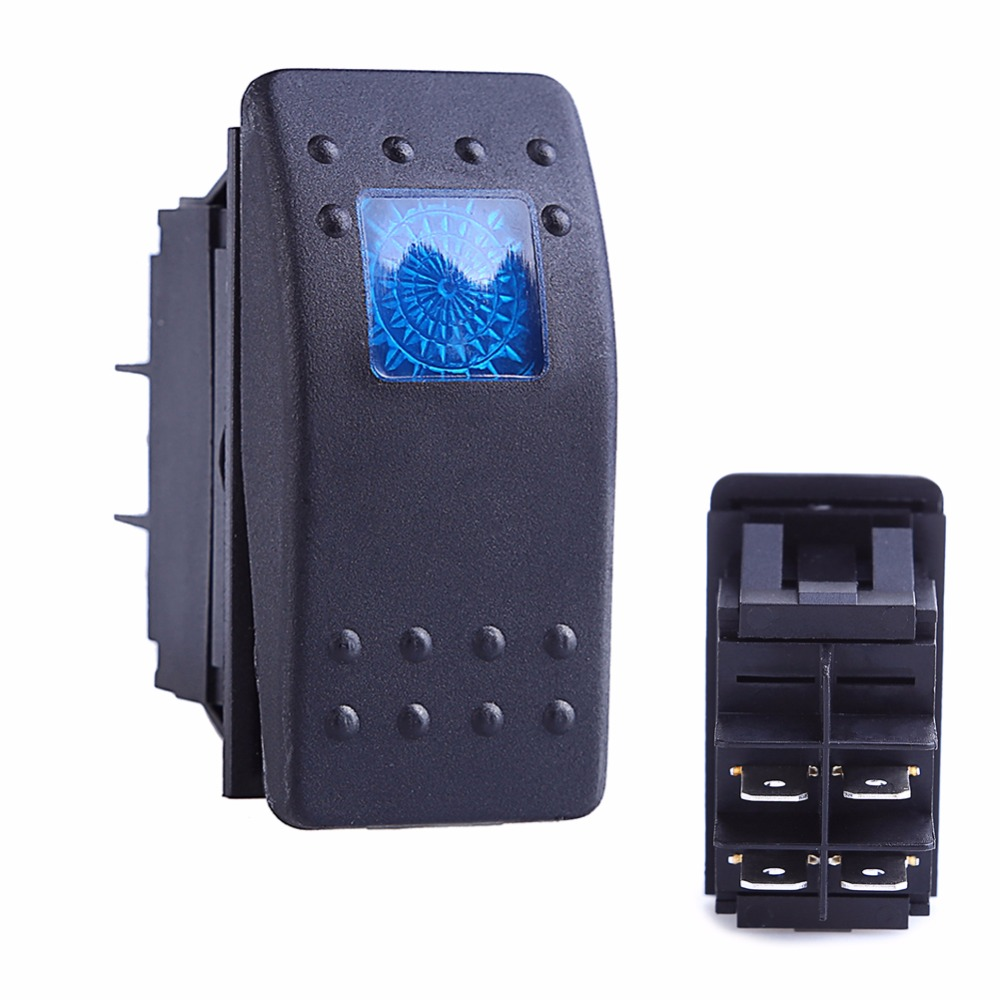 5 Pcs 12v 20a Push Button Switch On Off 4 Pin Blue Led