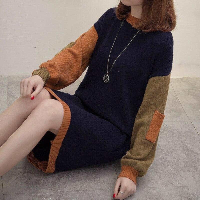 Plus size women brand pullover knitted sweater dress Fashion patchwork Korean style streetwear long sweater dress