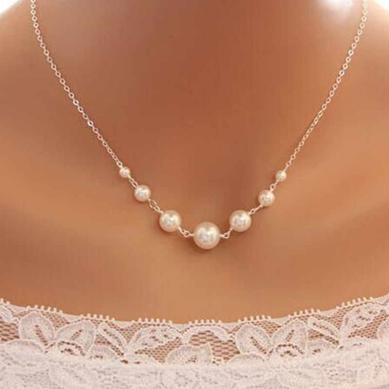 Crazy Feng Fashion Simulated Pearl Choker Necklace For Women Silver Color Chain Necklace Statement Jewelry Party Gift