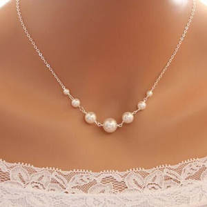 Choker Necklace Statement Jewelry Simulated Pearl Party-Gift Crazy-Feng Silver-Color