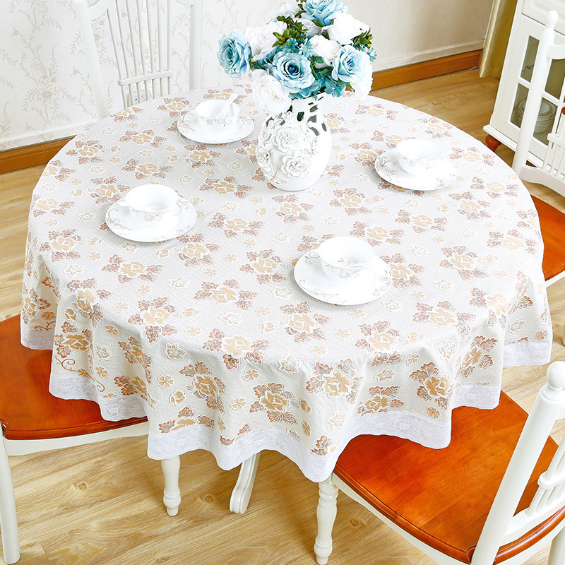 1.8 Meters Round PVC Table Cloth Waterproof Disposable Tablecloth Imitation Cloth Hotel Round Table Mat Dining Table Cover b