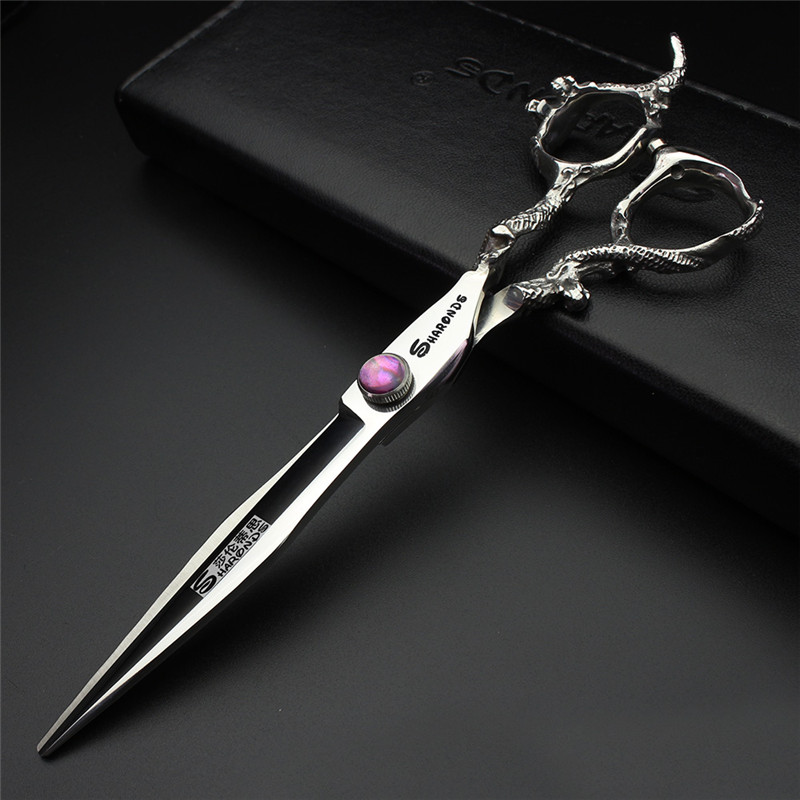sharonds hairdressing shop professional 6 inch haircut scissors suit personality gold ruby styling hairdressing scissors set Sharonds 7 inch hairdressing scissors personalized dragon handle purple gem hairdressing cutting scissors Modeling tool
