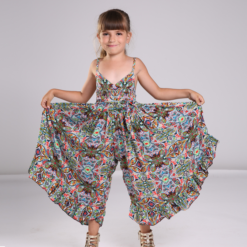 Bohemian Dress for Girls Fashion Print Clothing Children Summer Beach Dress Floral V-neck Sleeveless Dress Jumpsuits Maxi Dress v neck high waist print dress