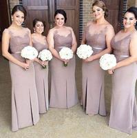 High Quality 2017 Side Split Mermaid Bridesmaid Dresses Appliques O Neck For Wedding Party Lady Dress