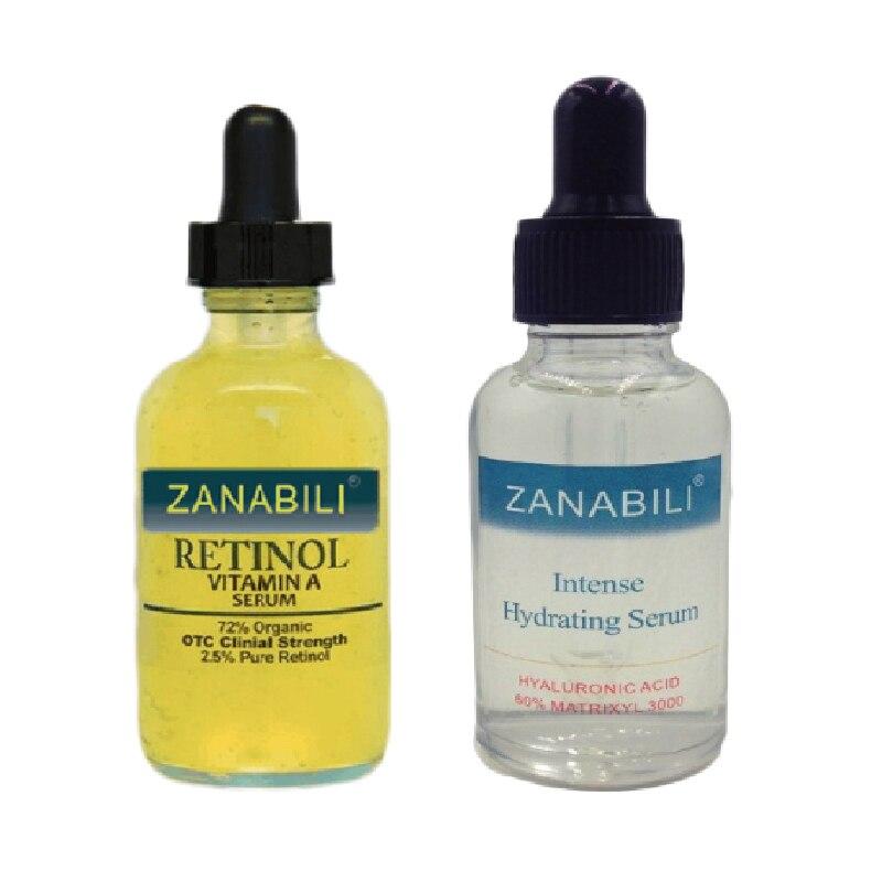 ZANABILI Vitamina A retinolă pură 2,5% + 60% MATRIXYL 3000 HIDRAULIC HYALURONIC ACID Facial Serum hidratantă pentru față Cremă pentru față 2pcs