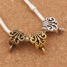 Полый цветок с пуговицами, соединители, бусины, шарм, европейский браслет L683, 22 шт., античное серебро/золото/бронза