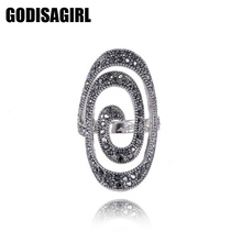 New Fashion Crystal Silver Plated Spiral Ring Women for Elegant Full Finger Love Wedding Rings Jewelry