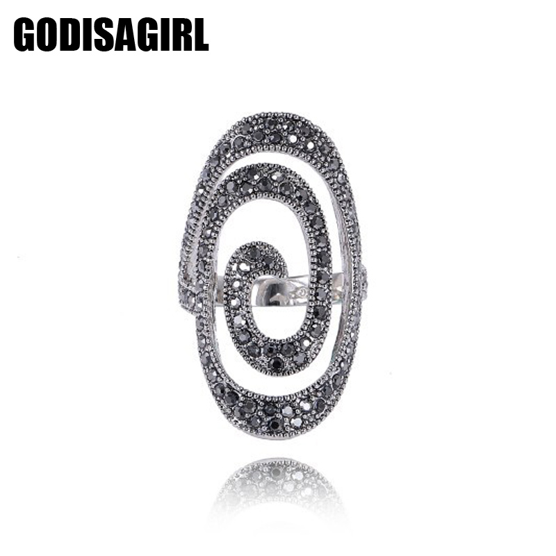 New Fashion Crystal Silver Plated Spiral font b Ring b font Women for Elegant Full font