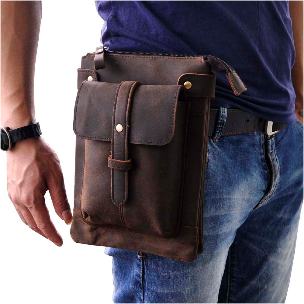 Fashion Real Leather Multifunction Casual Waist Pack Cross-body Bag Satchel Messenger Bag Hip Bum Pouch Waist Belt Pack 8711-l