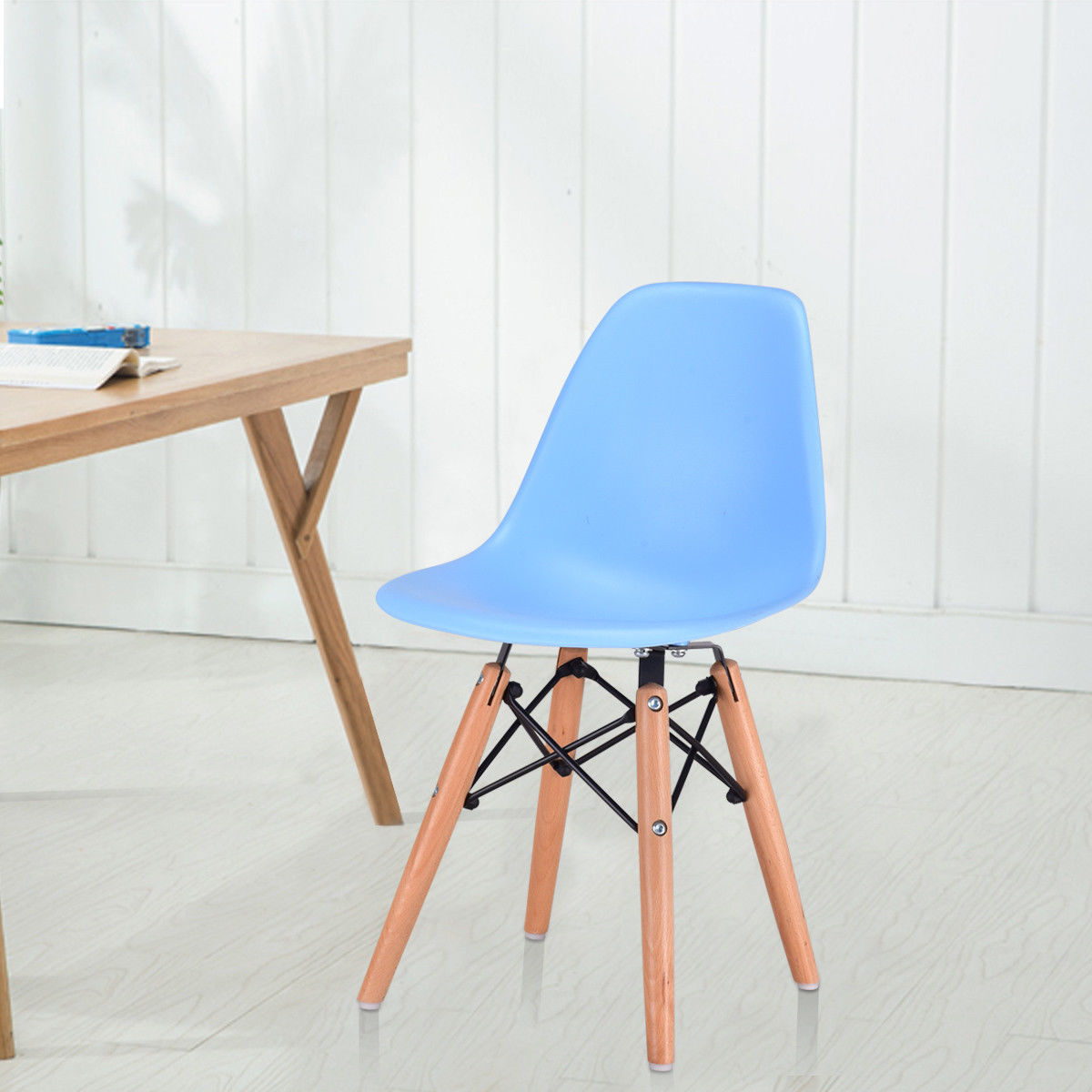 Giantex Modern Kids Dining Side Armless Chair Blue Molded Plastic Seat Wood Legs Children Chairs Home Furniture HW56499NY