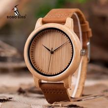 BOBO BIRD V-A15 Handmade Mens Bamboo Wooden Watch Bamboo Dial Quartz Wa