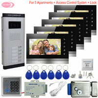 7inch Video Intercoms for Private Homes Access Control 5 Buttons + 5 Monitors Intercom in the Apartment + Electronic Door Lock