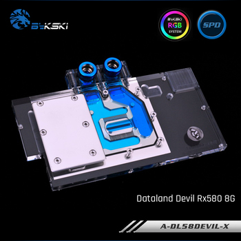 Bykski A-DL58DEVIL-X, Full Cover Graphics Card Water Cooling Block for Dataland DEVIL RX 580