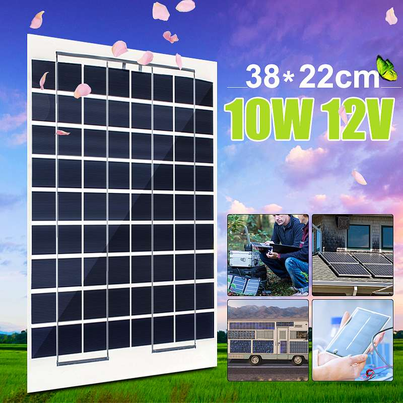 CLAITE 12V 10W Flexible Solar Panel Solar Charger For 12V Car Battery ETFE Monocrystalline Cells For Hause boat roof + 4M Cable image