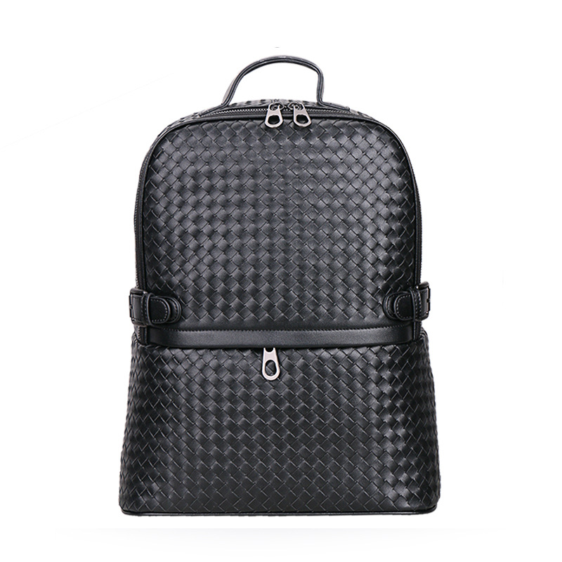 New Brand 100% Genuine Leather Men Backpacks Knitting Real Natural Leather Student Backpack Boy Luxury Weave Computer Laptop Bag