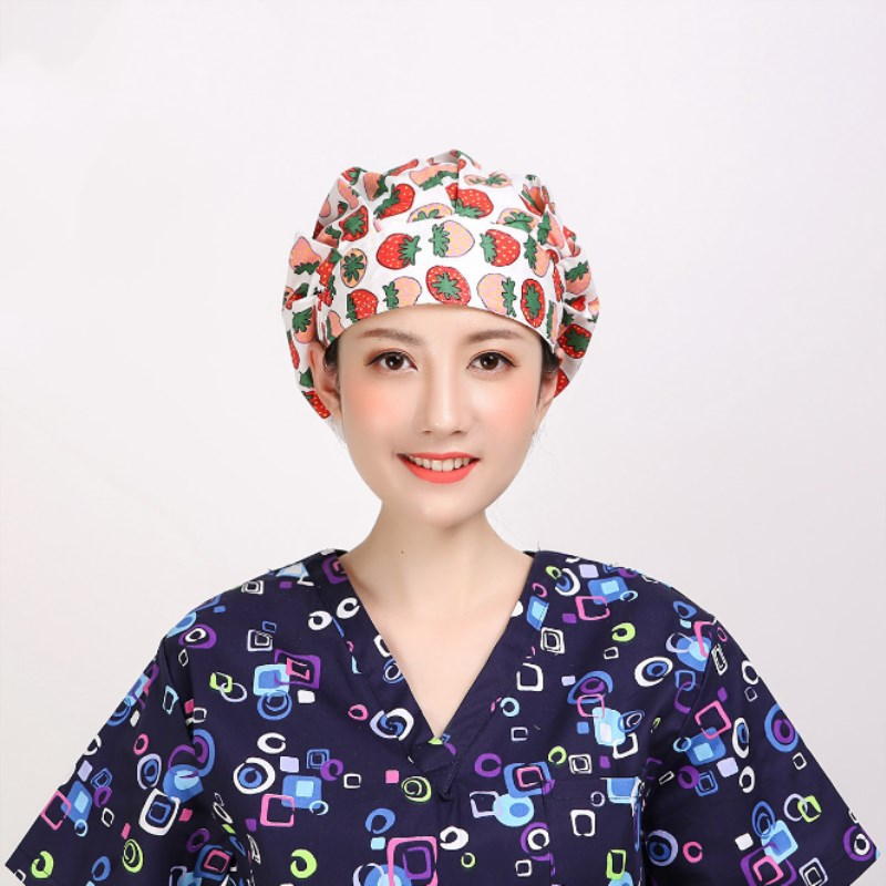 2 pcs Adjustable Doctor Nurse Caps Women's Surgical Hats with Sweatband Inner for Clinic Workwear Cap Cotton Scrub Surgical Caps