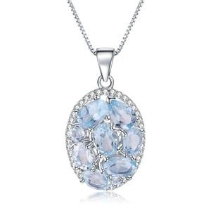 Image 5 - GEMS BALLET 3.90Ct Natural Sky Blue Topaz Gemstone Elegant Pendant Necklace for Women Fine Jewelry 925 Sterling Silver Collier