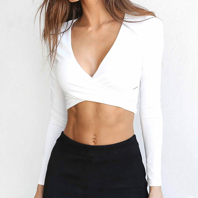 e7009ba8e68 Online Shop Women T-Shirts Strapless Shirt V-Neck Long Sleeve Crop Top  Bandage Cross Summer Tee Shirt Sexy Tops Party Club T Shirt WS020X
