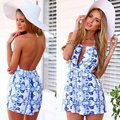New 2016 Sexy Halter Neck Sleeveless Print Jumpsuits Women Elegant Vintage Backless blue and white Playsuits Beach Wear bodysuit