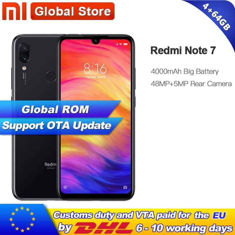 Global ROM Xiaomi Redmi Note 7 64GB 4GB Smartphone Snapdragon 660 Octa Core 4000mAh 2340 1080