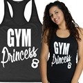 GYM Princess Women Workout Tank Top T-shirt GYM Clothes Fitness Yoga Lift Cute Top Tee Shirt S-2XL