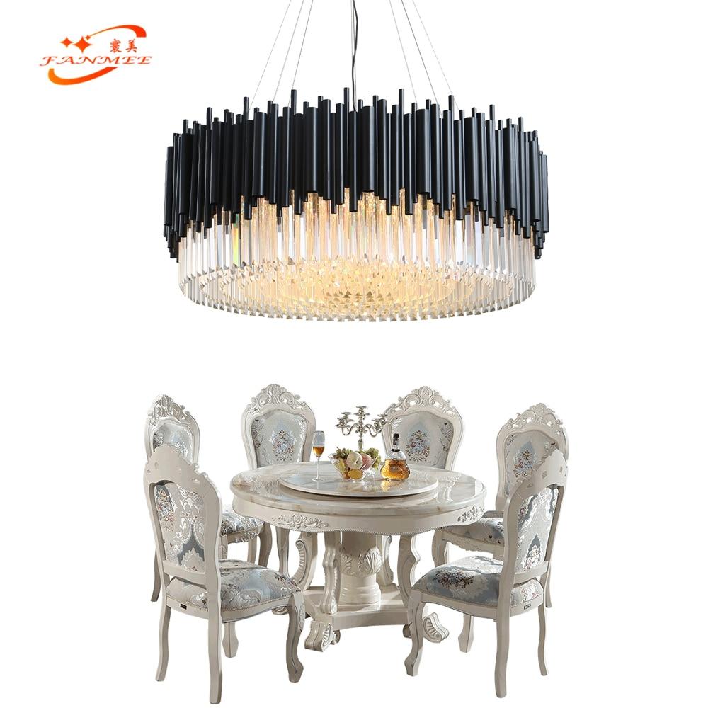 Lustre en cristal moderne éclairage LED lustres noir pendentif luminaire suspendu pour la maison hôtel salon salle à manger décor