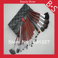 24pcs Professional Synthetic Cosmetic Brush Set Wholesale Price Synthetic Cosmetic Makeup Brush Set Excellent Leather Bag