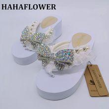 HAHAFLOWER Large Size 35-41 Peep Toe 6.5cm High Heels Women Shoes Pumps Woman Sweet Bling Platform Bride slippers Shoes Woman