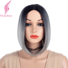 Yiyaobess 12inch Straight Black Grey Ombre Short Bob Wig Synthetic Hair Two Tone Pink Red Green Blue Wigs For Women цены