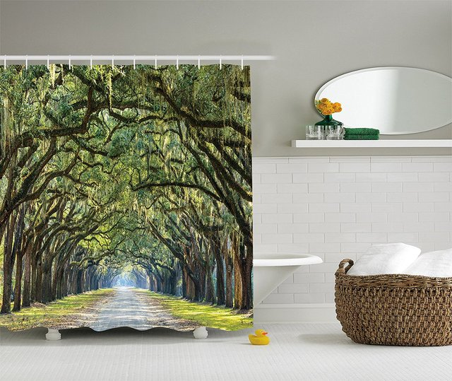 Forest Shower Curtain Green Woodland Country Tree Branches Road Scene Landscape Primitive Bathroom Set