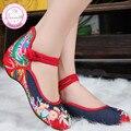 Плюс Размер 41 Мода Женская Обувь, старый Пекин Мэри Джейн Квартиры С Повседневная Обувь, китайский Стиль Вышитые Ткани обувь женщина