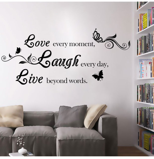 love laugh live quote removable self adhesive art characters writing