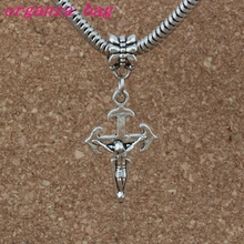 100pcs/lot Dangle Ancient silver Jesus Christ Crucifix Religious Cross Charm Big Hole Beads Fit European Bracelet Jewelry