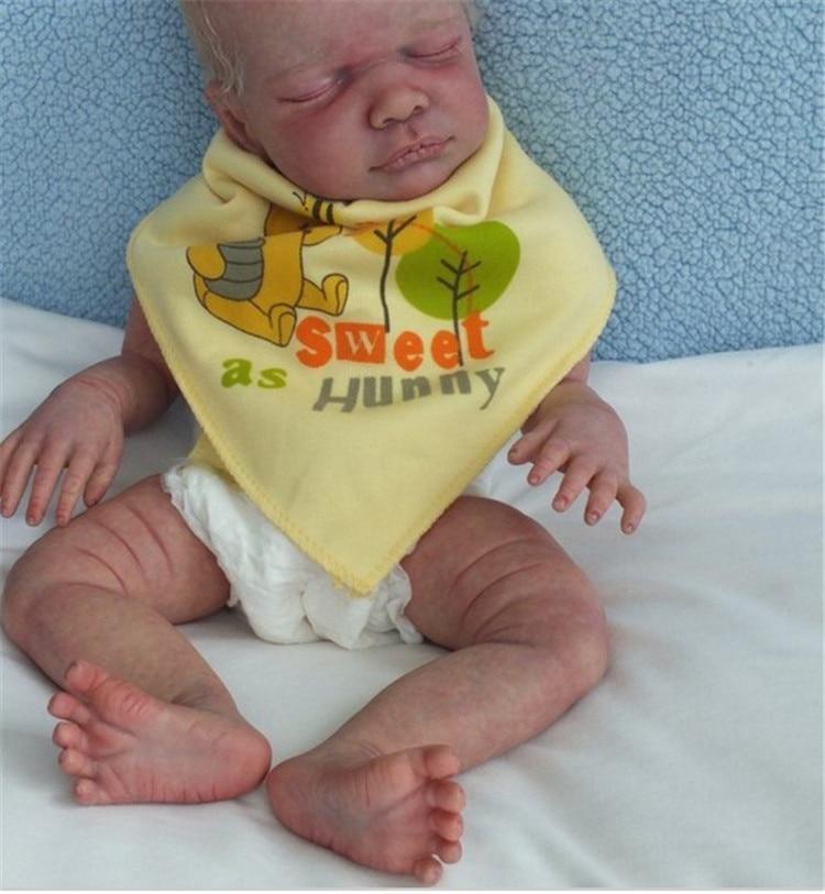 50cm Soft Lifelike Real Human Skin Solid Silicone Reborn Baby Doll Kit Toy 20inch  Kit Reborn Babies Newborn Doll Model