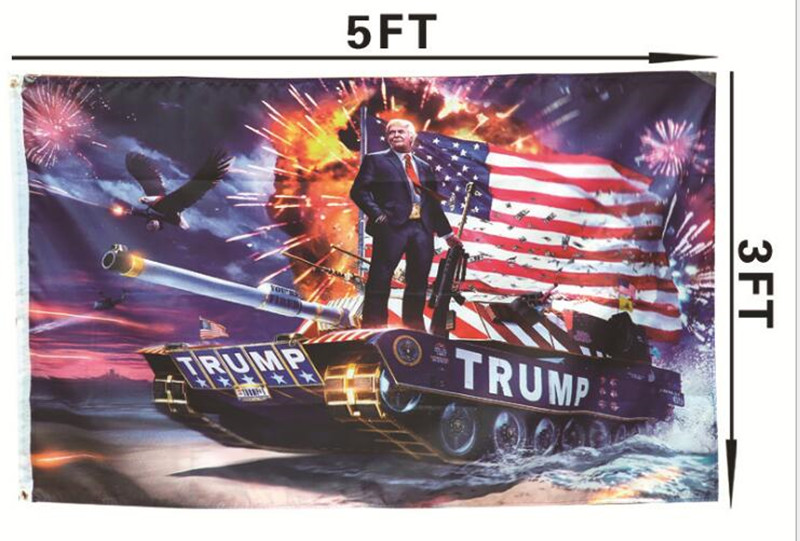 3X5FT Donald Trump Flag Tank Make America Great Again 2020 DIGITAL PRINT Banner President Election Prop Yard Home Garden Decor
