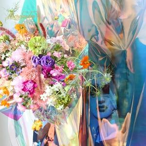 Image 5 - Nicrolandee 20 cali x 10 motyw kwiatowy, 0,9 metra opalizujący celofan tęczowy Film świąteczne urodziny materiały do dekoracji ślubnych