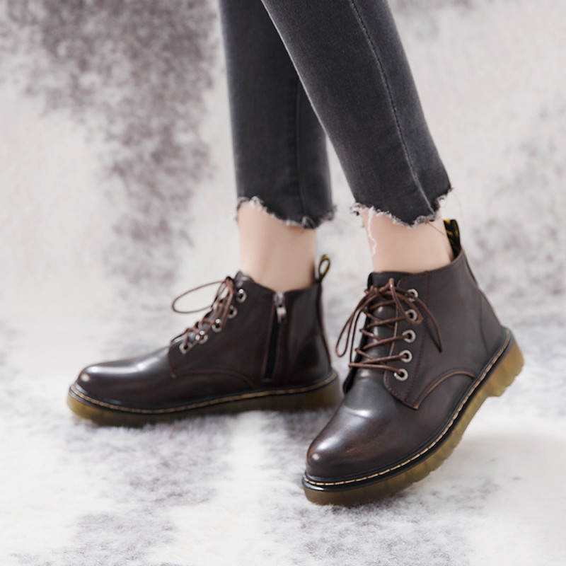 COOTELILI Shoes Women Lace-Up boots Flats Rubber Female Fashion Ankle Basic for Black