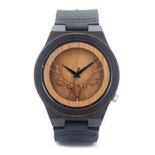2016 Nueva Llegada Ahueca Hacia Fuera el Arte Del Grabado Ciervos Cabeza De Bambú madera Reloj de Marca Para Hombre de Cuarzo Analógico Reloj De Madera con Cuero correa
