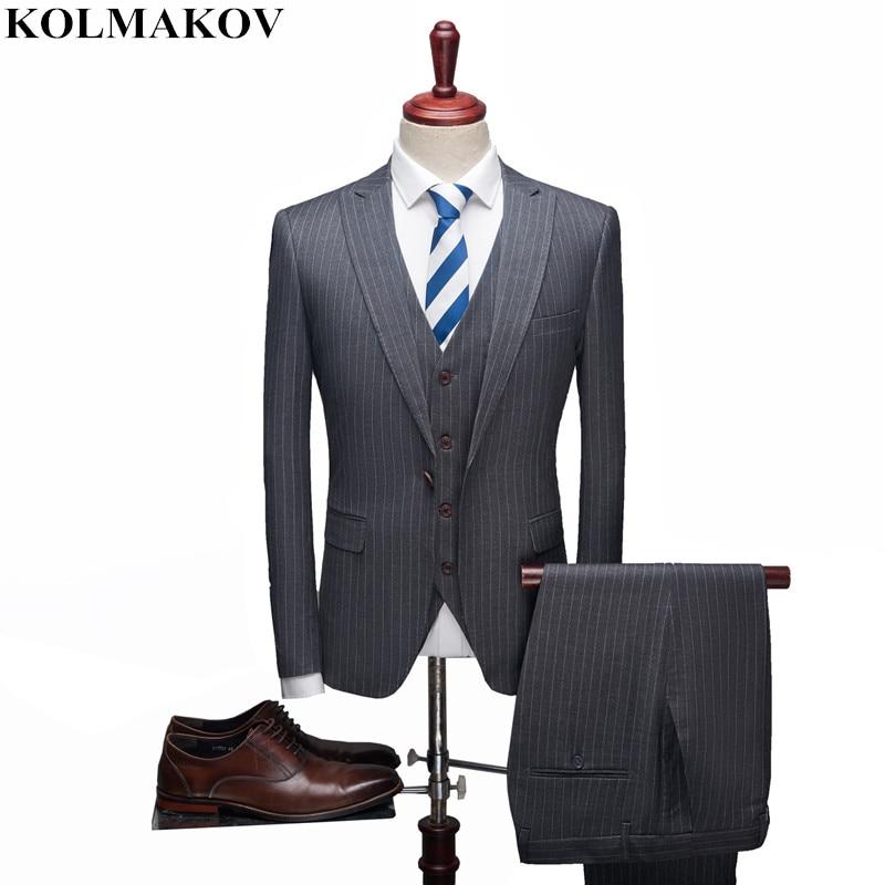 (Jacket+Vest+Pants) 2019 New S-XXXL Mens 3 Pieces Suits Homme Single Button Formal Suit Classic Striped Business Suits For Men