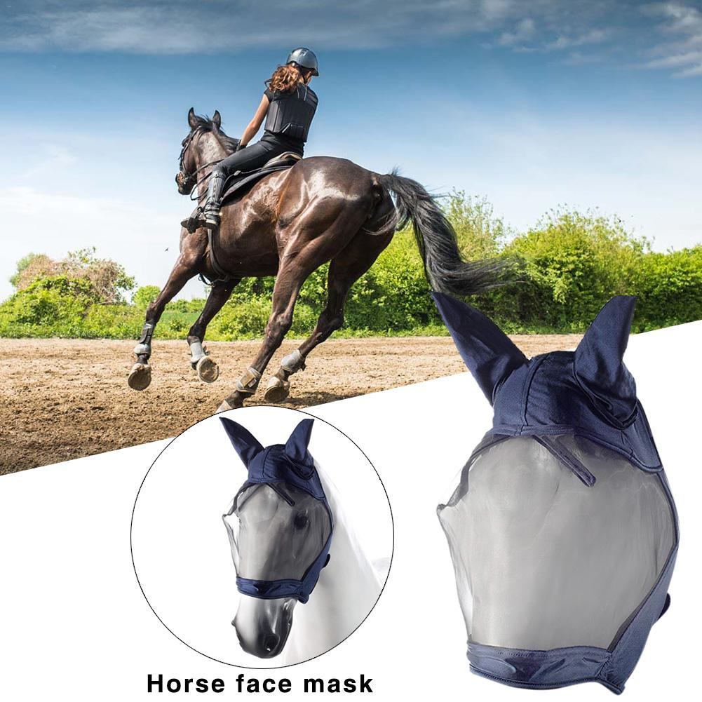 Horse Face Mask Luminous Fly Mask UV Protection Cover House Pet Breathable Horse Earmuffs Outdoor Cycling Ear Mask Protective