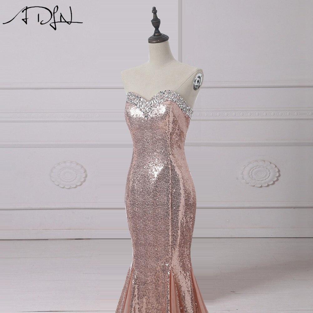 ADLN Rose Or Sequin Robes De Soirée Longue Chérie Sans Manches - Habillez-vous pour des occasions spéciales - Photo 3