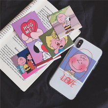 Cartoon character Portrait cards case for iphone7 7plus 7 Peanuts Charlie transparent cover iphone x xr xs max 6s 6 8 plus