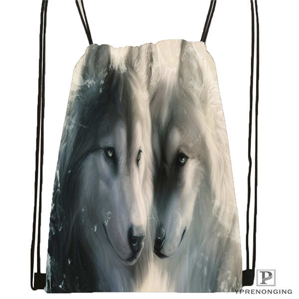 Custom Black-White-WolfEyes Drawstring Backpack Bag For Man Woman Cute Daypack Kids Satchel (Black Back) 31x40cm#20180611-03-145