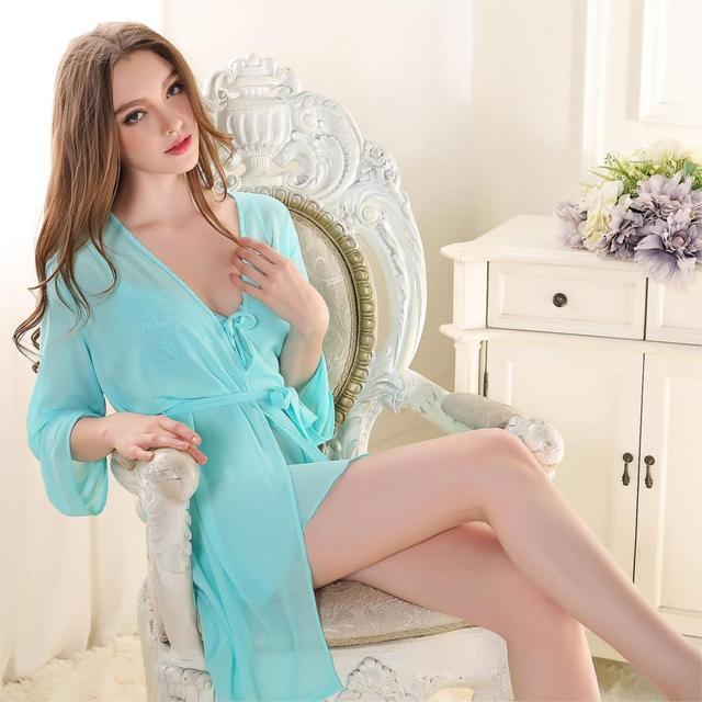 2 pics Robes V-neck Pajamas Casual Sexy Lace Chiffon Nightgowns Nightdress Spring summer Comfortable Silk Sleepwear