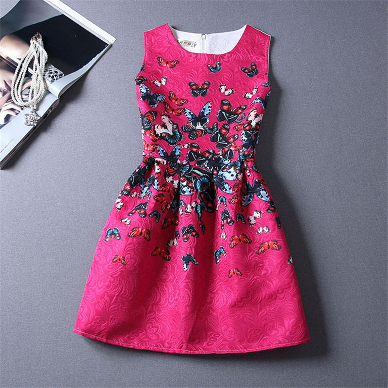 European Style Summer Dresses For Girl Butterfly Flower Printed Sleeveless Teenagers Party School Dress Clothes For 6-12Y