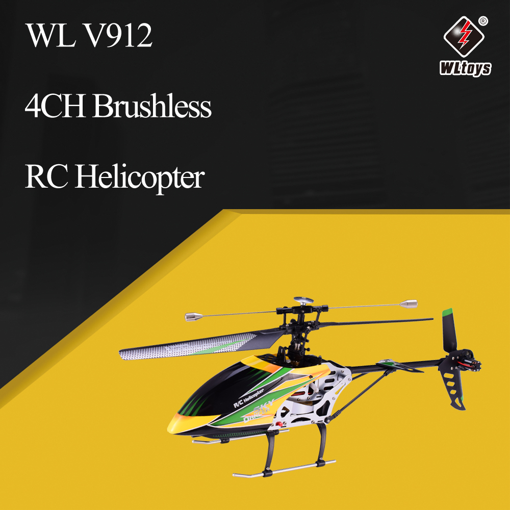 WLtoys V912 Sky Dancer Aircraft 4CH Brushless RC Helicopter with Gyro Single Blade With Head Lamp Light RC quadcopter(China)