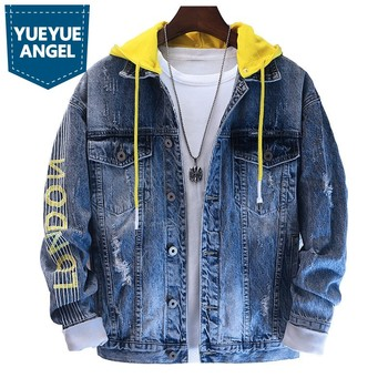 New Hooded Denim Jackets Men Korean Loose Fit Single Breasted 100% Cotton Letter Hole Wash Fashion Casual Jeans Coats Male